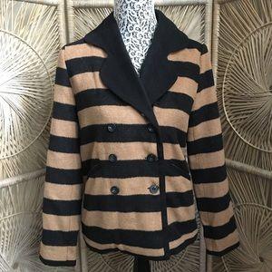 Anthropologie Tulle Beige & Black Buttoned Jacket